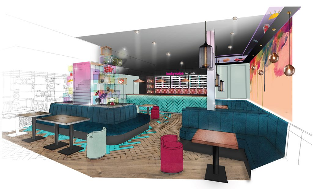 3d computer generated image of Lucky Voice Karaoke bar Interior