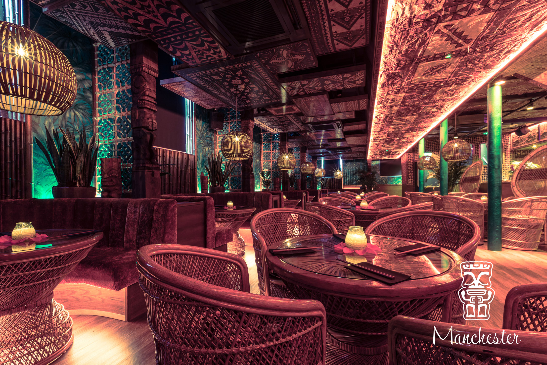 Polynesian styled interior design by CT Creative at Mahiki night club in Manchester